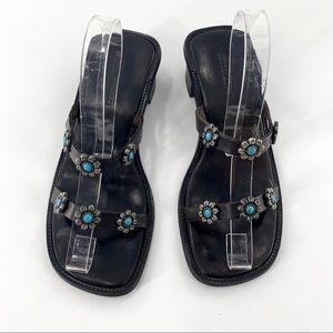 Sesto Meucci Italian Leather Slip On Sandals